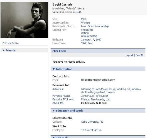John Mayer\'s Sayid Jarrah Facebook Account